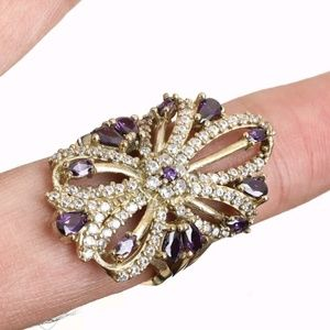 Amethyst & white sapphire large flower ring